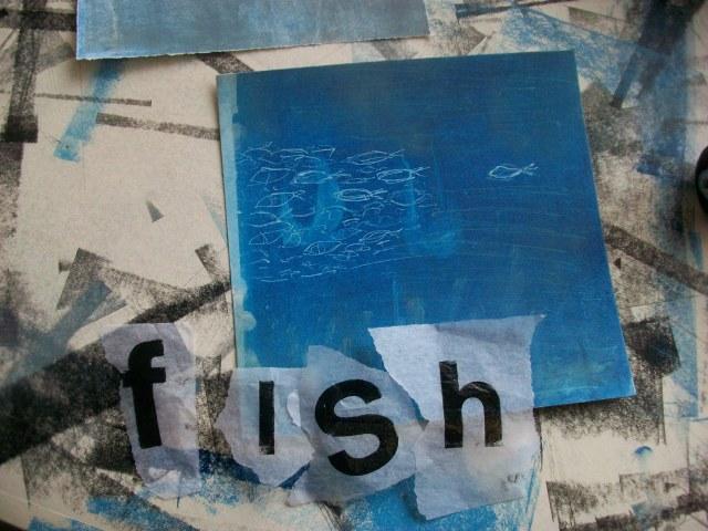 fish mono printing