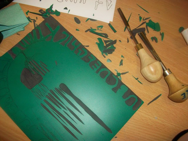 This is lino cutting