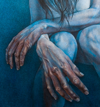 close up of hands, see the harsh lighting